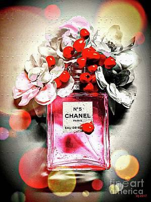Mixed Media - Chanel Flowers by Daniel Janda