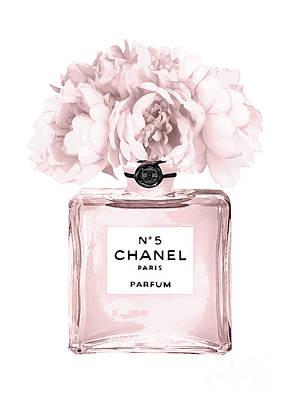 Peony Mixed Media - Chanel N.5 Perfume 9 by Del Art