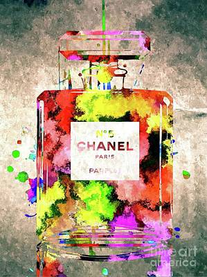 Watercolor Mixed Media - Chanel No 5 by Daniel Janda