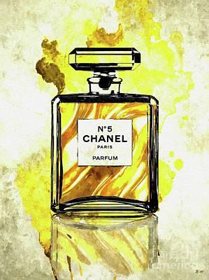 Mixed Media - Chanel No. 5 Gold by Daniel Janda