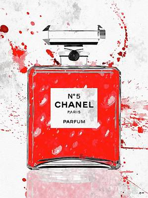 Mixed Media - Chanel No 5 Red by Daniel Janda