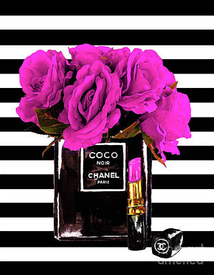 Watercolor Flower Mixed Media - Chanel Noir Perfume With Flowers by Del Art