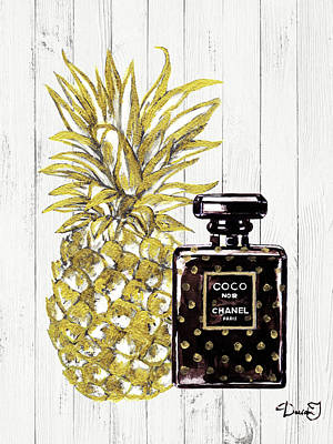 Pineapple Painting - Chanel  Noir Perfume With Pineapple by Del Art