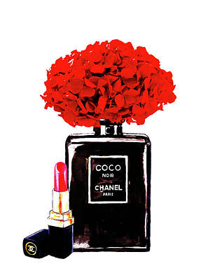 Noir Digital Art - Chanel Noir Perfume With Red  Hydrangea  by Del Art