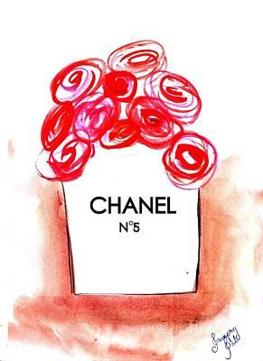 Chanel Peach Flower Bag Art Print by Sweeping Girl