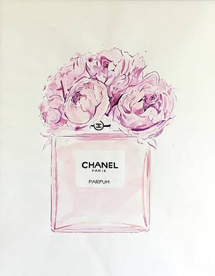 Chanel Wall Art - Painting - Chanel Peonies by Anna Shogren