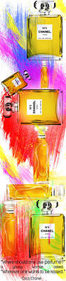 Dressing Room Painting - Chanel Perfume Bottles 2 by Diana Van