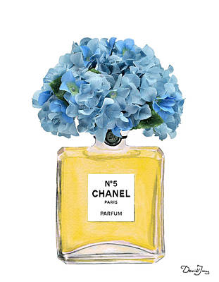 Chanel Wall Art - Painting - Chanel Perfume Nr 5 With Blue Hydragenias  by Del Art