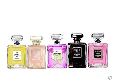 Chanel Mixed Media - Chanel Perfume Print Set Chanel Poster by Del Art