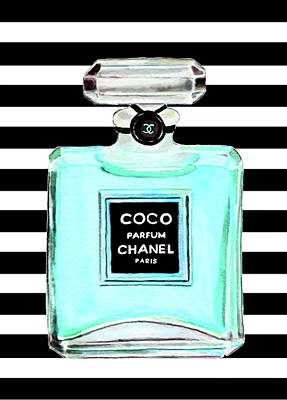 Chanel Wall Art - Painting - Chanel Perfume Turquoise Chanel Poster Chanel Print by Del Art