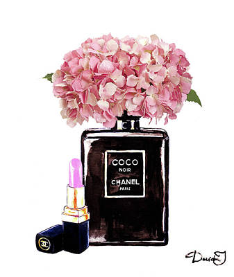 Chanel Mixed Media - Chanel Perfume  With Pink Hydragenia 2 by Del Art