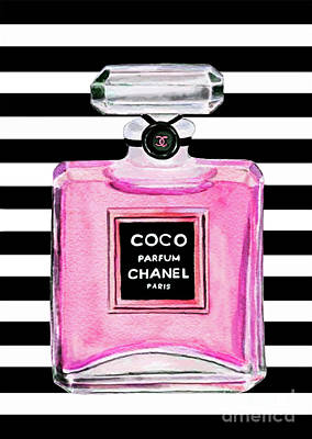 Chanel Wall Art - Painting - Chanel Pink Perfume 1 by Del Art
