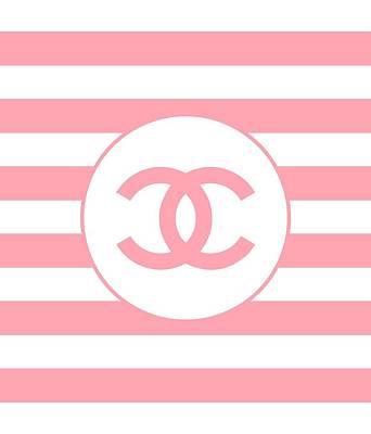 Versace Digital Art - Chanel Pink Stripes by Alta Vita