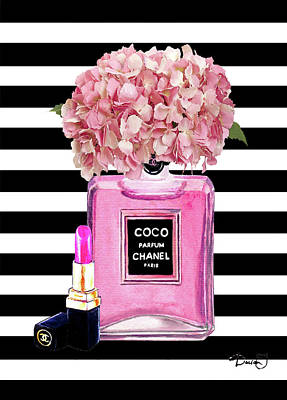 Chanel Wall Art - Painting - Chanel Poster Pink Perfume Hydrangea Print by Del Art