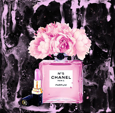 Chanel Wall Art - Painting - Chanel Print Chanel Poster Chanel Peony Flower Black Watercolor by Del Art