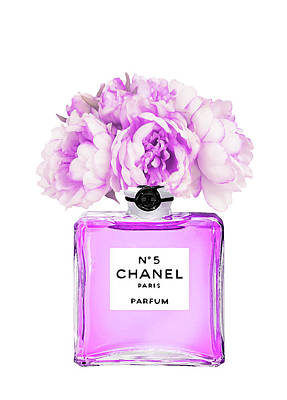 Perfumes Painting - Chanel Print Chanel Poster Chanel Peony Flower by Del Art