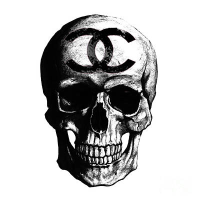 Chanel Wall Art - Painting - Chanel Skull Black by Del Art