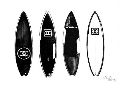 Watercolor Wall Art - Painting - Chanel Surfboard  Black And White by Del Art