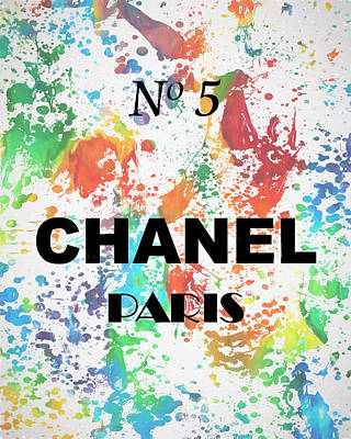 Mixed Media - Chanel Watercolor Poster by Dan Sproul