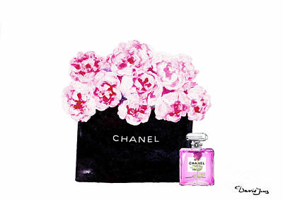 Chanel Wall Art - Mixed Media - Chanel With Flowers by Del Art