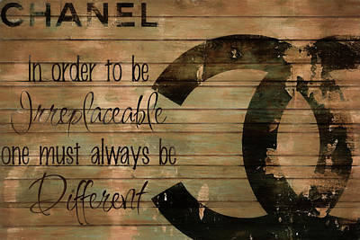 Actors Mixed Media - Chanel Wood Panel Rustic Quote by Dan Sproul