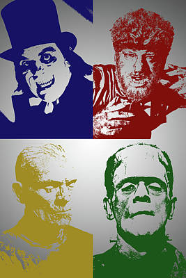 Digital Art - Chaney And Karloff Monsters by John Haldane