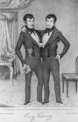 Conjoined Photograph - Chang And Eng, 1811-1874, Conjoined by Everett