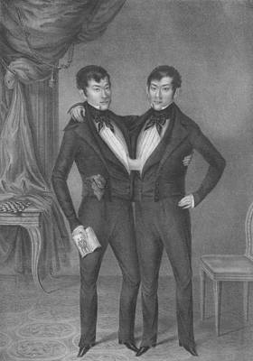 Drawing - Chang And Eng Bunker - Siamese Twins Portrait  by War Is Hell Store