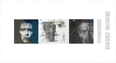 David Bowie Wall Art - Mixed Media - Changes David Bowie Triptych by Paul Lovering