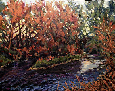 Painting - Changing Colors On Boise River by Les Herman