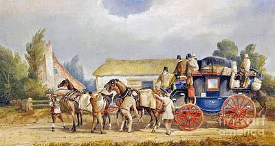 Change Painting - Changing Horses For The London Mail Coach by MotionAge Designs