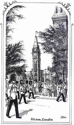 Changing Of The Guard Ottawa 1995 Art Print by John Cullen