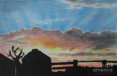 Sand Fences Drawing - Changing Skys Fence Grain Bin Silhouette  by Jeanette Skeem