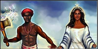 Yemaya Painting - Chango And Yemaya Together by Carmen Cordova