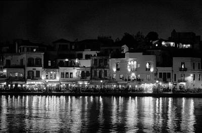 Photograph - Chania By Night In Bw by Jouko Lehto