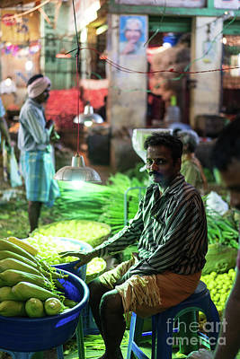 Real Life Photograph - Channai India Vegetable Seller by Mike Reid