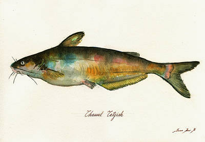 Fishing Painting - Channel Catfish Fish Animal Watercolor Painting by Juan  Bosco