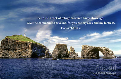 Ventura California Photograph - Channel Island National Park - Anacapa Island Arch With Bible Verse by John A Rodriguez