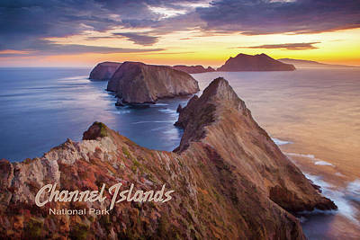 Anacapa Painting - Channel Islands National Park At Sunset  Text Channel Islands by Elaine Plesser