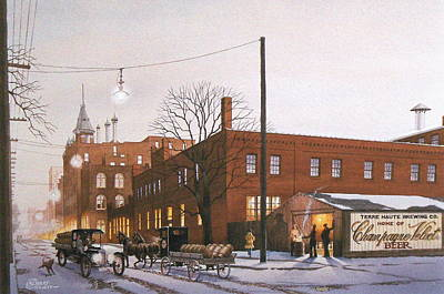 Delivery Truck Painting - Chanpagne Velvet Brewery by C Robert Follett