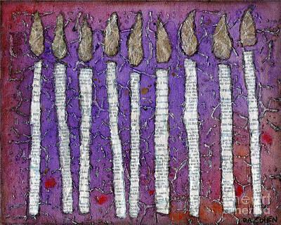 Chanukah Menorah In Purple Original by Deb Cohen