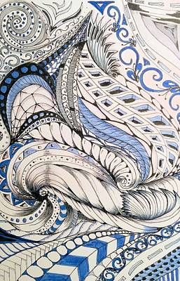 Silver Turquoise Drawing - Chaos by Darla Richardson