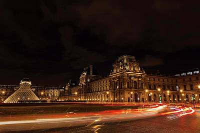Photograph - Chaotic Light Trails At The Louvre  by Hany J