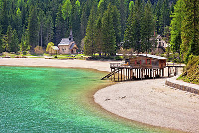 Photograph - Chapel And Braies Lake In Dolomite Apls View by Brch Photography