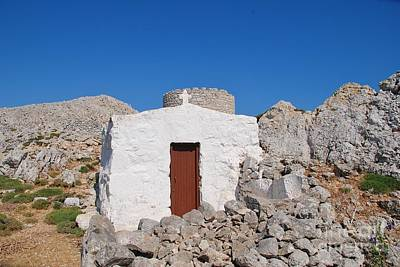 Photograph - Chapel And Windmill On Halki by David Fowler