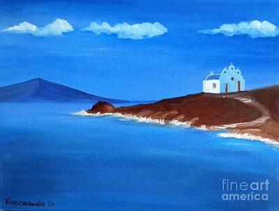 Sea Painting - Chapel At Pyrgi by Kostas Koutsoukanidis