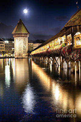 Chapel Bridge At Night In Lucerne Art Print