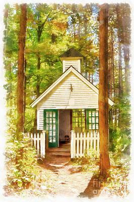 Chapel In The Woods Watercolor Art Print by Edward Fielding