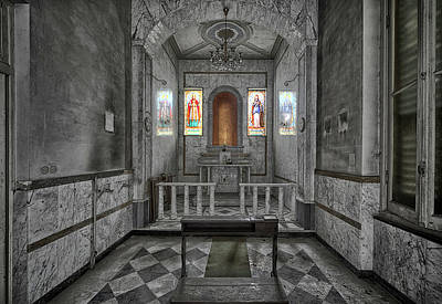 Photograph - Chapel Of A Former Hospital Bw - Cappella Di Ex Ospedale Bnndoned Places by Enrico Pelos