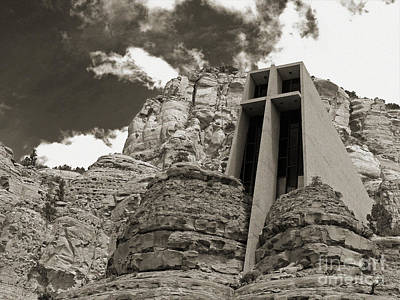 Photograph - Chapel Of The Holy Cross Bw by Kelly Holm